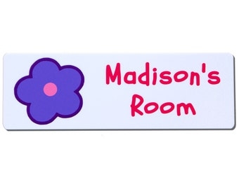 Personalised Childrens Bedroom Door Sign with Flower Design