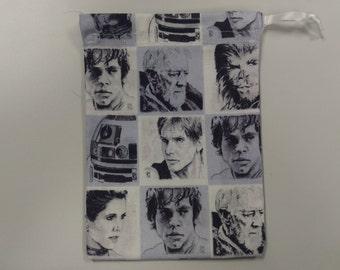Classic Star Wars Trilogy Print Design Drawstring Gift Jewelry Dice Bag Pouch Luke Leia Han Solo Chewbacca