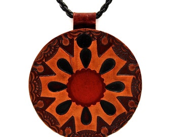 """8-Pointed Carved Leather Tribal Shamanic Star Pendant with 20"""" leather chain & Silver 950 clasp 