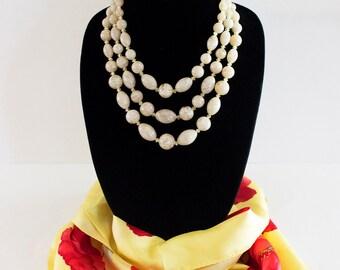Very Pretty West Germany Vintage Triple Strand Beaded Necklace