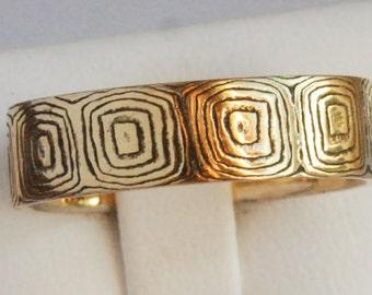 mokume gane ring, band etched