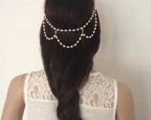 Bohemian Style Pearl Chain Hair Floater. Wedding, Party, Prom, Anniversary Headpiece.