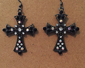 Black cross earrings with crystals