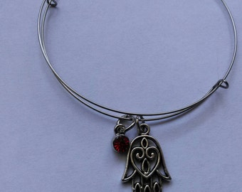 Good luck Hamsa bangle bracelet