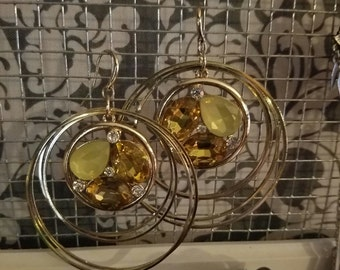Yellow and gold jewel hoop earrings