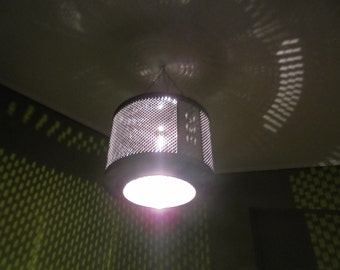Upcycled washing machine drum pendant light