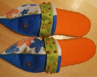 Felt finches 1001 - orange blue colourful - with anti slipping sole