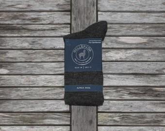 Socks Alpaca anthracite grey high for men