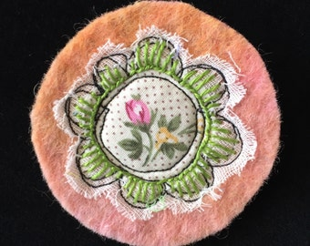 hand made embroidered felt brooch
