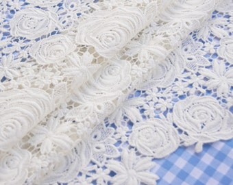 White Wedding Lace Fabric, Rose Pattern Lace Fabric , Wedding Gown Lace, Lace dress fabric lace tote fabric lace curtain fabric