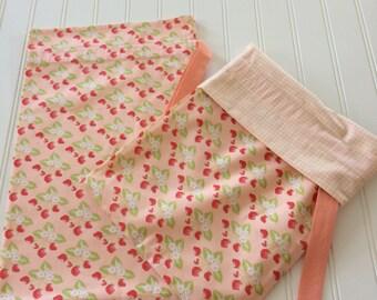 Peach strawberry print shoe bags/travel bags