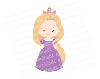 Princess // Royal // Crown // Childrens // Disney // Wand // Clipart // Clip Art // Fairy // Dress // Smile // Purple
