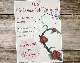Wedding Anniversary Rose Invitation, Printable digital file. 5x7