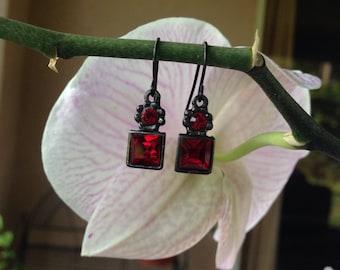 Vintage Red Garnet Drop Earrings