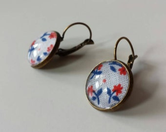 Dangle earrings fabric floral