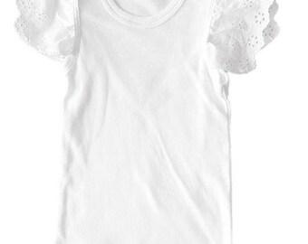 White Flutter sleeve Singlet