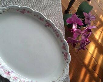 Pretty Vintage Platter Dainty Pink Flowers So Shabby