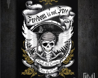 Collection poster 50x70 cm -  Freedom is not free. Pirates by choice  - Original Design by Heya