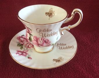 Healacraft Golden Wedding Bone China Tea Cup & Saucer