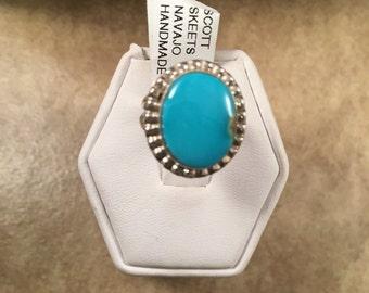 Vintage Navajo Kingman Turquoise & Sterling Silver Ring Size 4.5