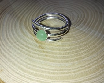 Sterling silver triple twist ring, with green aventurine, Forest jewellery, Valentine gift for her
