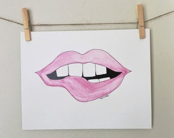 Pink lips watercolor print 11x14