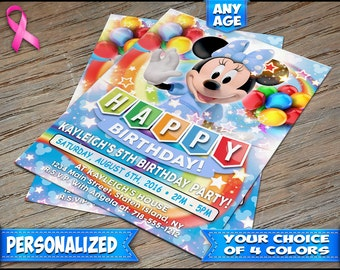 Minnie Mouse Birthday Invitation Blue - Personalized Digital File or Printed on Heavy Stock with Free Envelopes - Minnie Mouse Invitations