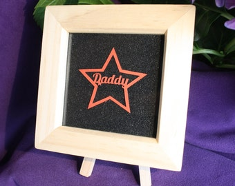 Red Star Daddy Papercut on black glitter paper. Original hand cut papercut miniature. Ideal Father's Day gift