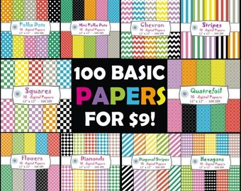 50% OFF Pack 100 DIGITAL PAPERS - Basic colors - stripes, polka dots, squares, quatrefoil, diamond, chevron