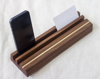 Large Card Holder - Walnut and Brass