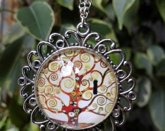 Necklace with pendant cabochon klimt tree of life
