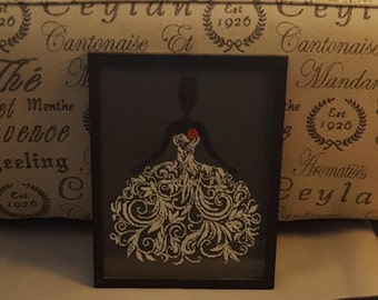 Silhouette Bride, Finished Cross Stitch, Completed Piece