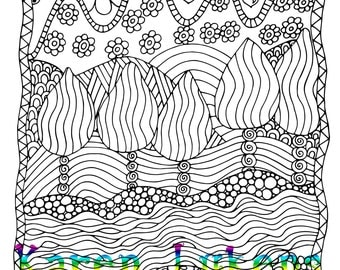 5 pages, Doodle Pack #4, 5 Adult Coloring Book Pages, Printable Instant Download