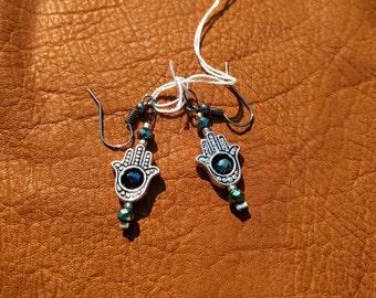 Hamsa Hand Earrings with dark blue glass beads