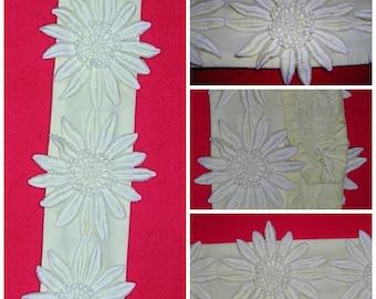 Vintage original 60s yellow voile/satin lined sunflower lace embellished waist cinching handmade belt sz: SM ft 7 flowers & hook/eye closure
