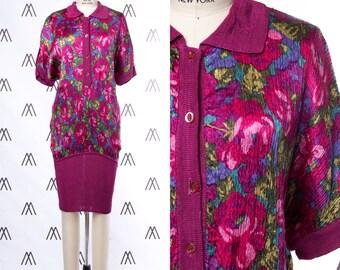 1970s Crinkle Floral Sack Shirt Dress with Magenta Ribbed Trim