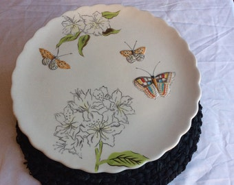 Shabby Chic Butterfly Meadow Cake Plate