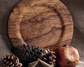 Anatolian Olive Wood Serving Plate - Handmade - Ecofriendly - Unique *Made in Turkey*