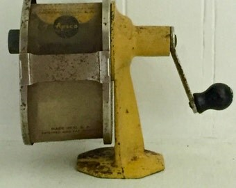 Vintage Yellow Pencil Sharpener  Aspco Midget