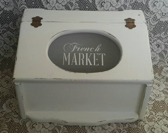 Vintage Upcycled Shabby Chic Wooden Bread Box in Distressed White with French Market Plexiglass Window Pane