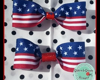 American Flag Hair Bow - Patriotic - America - Red White and Blue - 4th of July - Memorial Day