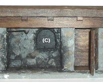 Miniature FIREPLACE COLONIAL - Plaster/Wood (C) Made By: Joan Keyshone