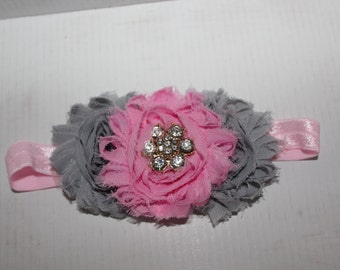 Girls Pink and Grey Headband