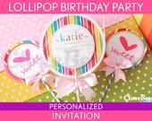 Lollipop Birthday Party Invitation Personalized Printable // Lollipop - B16Pa4