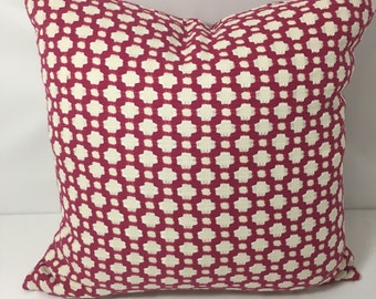 "19"" SQ. Schumacher Knit, Magenta and off-white Geometric print fabric pillow cover"
