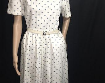 80's Jessica Howard Vintage White and blue Polka Dot Dress