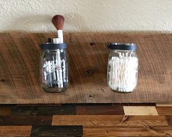 Reclaimed Wood Mason Jar Candle/Flower Holder/Jar/Barn Wood/Organizer