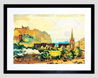 Scottish Cityscape Edinburgh Castle Scott Monument Gallery Art Print Poster FEBB8395