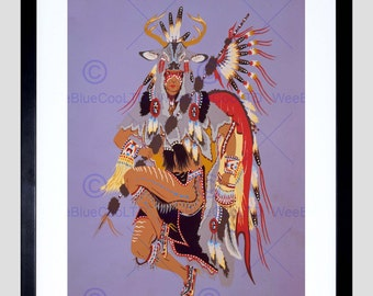 Painting Drawing Native American Deer Dance Feather Usa Posterprint FEBB8139B