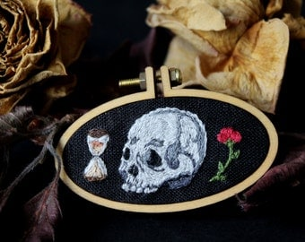 Memento mori embroidered brooch